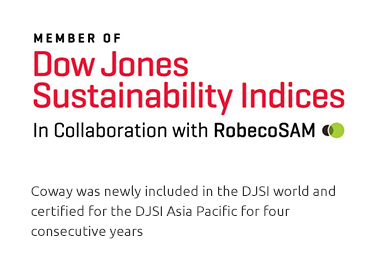 Coway was included in DJSI Asia Pacific for three consecutive years.